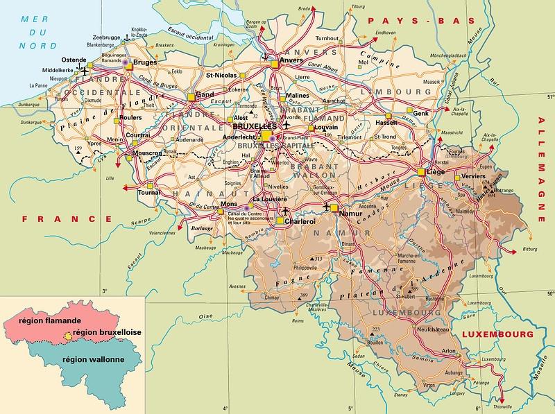 Carte Belgique Atlas.Carte De Belgique Kaart Van Belgie Map Of Belgium